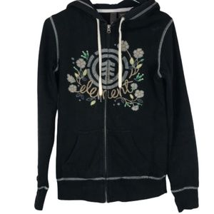 Element Zip Up Hoodie Sweatshirt Black Floral S